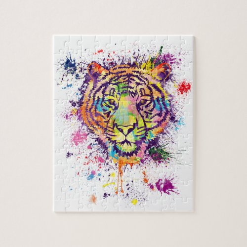 The colorful tiger portrait _ watercolor jigsaw puzzle