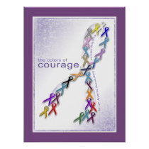 The Colors of Courage Cancer Awareness Ribbons Poster