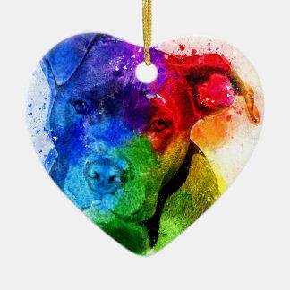 The colors of Love are a Pitbull Ceramic Ornament