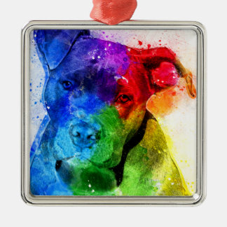 The colors of Love are a Pitbull Metal Ornament