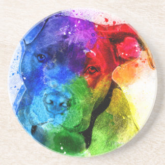 The colors of Love are a Pitbull Sandstone Coaster