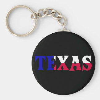 The Colors of Texas: Red, White, & Blue Basic Round Button Keychain