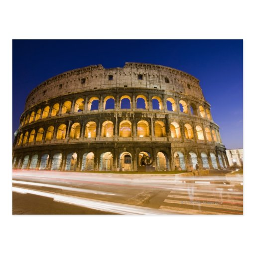 the Colosseum ampitheatre illuminated at night 2 Postcard