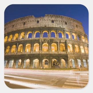 the Colosseum ampitheatre illuminated at night 2 Square Sticker