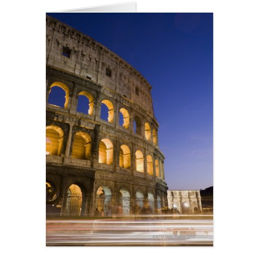 the Colosseum ampitheatre illuminated at night Greeting Cards