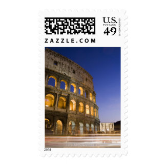 the Colosseum ampitheatre illuminated at night Postage