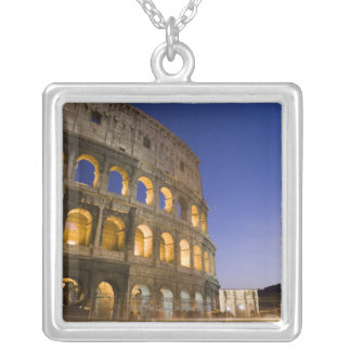 the Colosseum ampitheatre illuminated at night Square Pendant Necklace