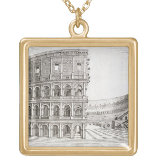 The Colosseum, built in AD 80 (engraving) Square Pendant Necklace