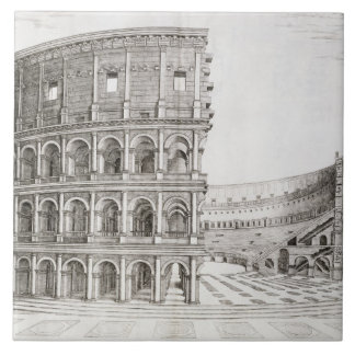 The Colosseum, built in AD 80 (engraving) Tile