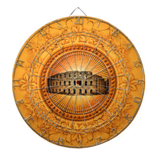 The Colosseum on a button with floral elements Dart Boards