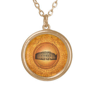 The Colosseum on a button with floral elements Gold Plated Necklace