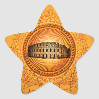 The Colosseum on a button with floral elements Star Sticker