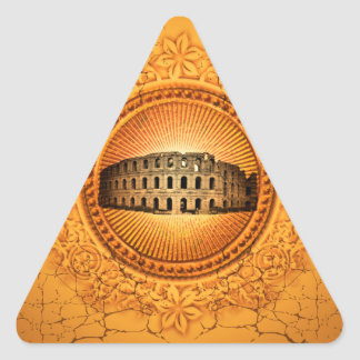 The Colosseum on a button with floral elements Triangle Sticker