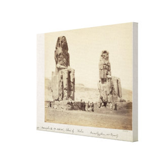 The Colossi of Memnon, statues of Amenhotep III, X Gallery Wrap Canvas