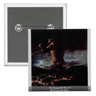 """The Colossus (Or Panic """")"""" By Francisco De Goya 2 Inch Square Button"""