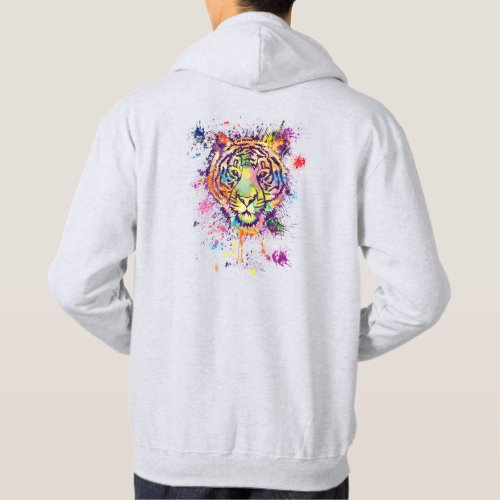 The colourful tiger portrait _ watercolor hoodie