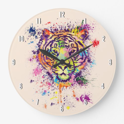 The colourful tiger portrait _ watercolor large clock