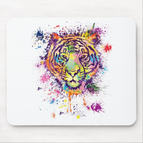 The colourful tiger portrait _ watercolor mouse pad