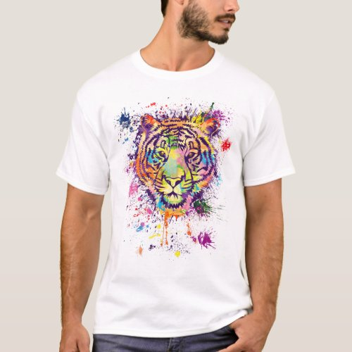The colourful tiger portrait _ watercolor T_Shirt