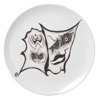 The Comedy of Tragedy Theater Masks Dinner Plate