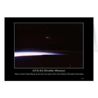 The comet Hale-Bopp at sunset as seen from the Spa Card
