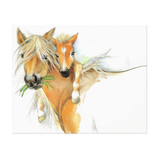 The Comfort of Mother, Love, Horse and Foal Canvas Print