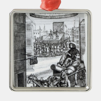 The Comical Romance' by Paul Scarron Square Metal Christmas Ornament