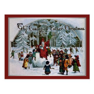 The Coming of Father Christmas Postcard