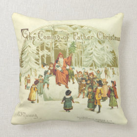 The Coming of Father Christmas Throw Pillows