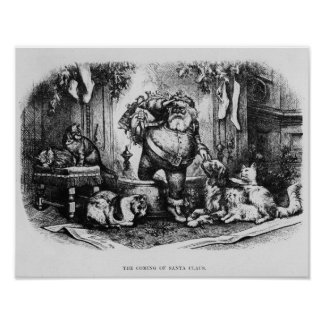 The Coming of Santa Claus 1872 Print