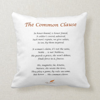 The Common Clause Poem on Pillow