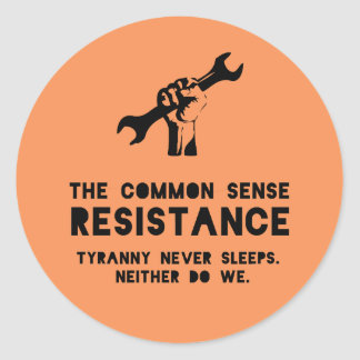 The Common Sense Resistance - Orange Classic Round Sticker