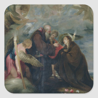 The Communion of St. Rose of Viterbo (The Virgin) Square Sticker