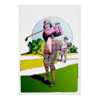 The Compleat Lady Golfer - Art On Canvas Print