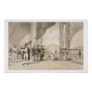 The Comte de Bourmont and Admiral Duperre on board Print