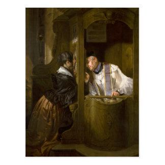 The Confession by Giuseppe Molteni 1838 Postcard