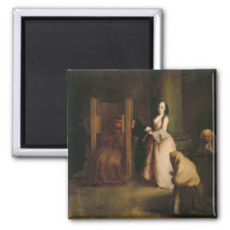 The Confession, c.1755 (oil on canvas) 2 Inch Square Magnet