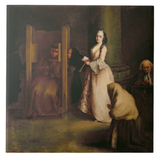 The Confession, c.1755 (oil on canvas) Ceramic Tile