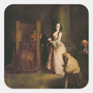 The Confession, c.1755 (oil on canvas) Square Sticker