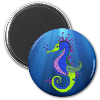 The Confident Seahorse 2 Inch Round Magnet