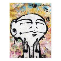 artsprojekt, art, cards, atc, aceo, figure, hands, head, face, ears, acrylic, phiz, 1983, physiognomy, fantasy, sensory receptor, horror film, sense organ, Lucio Fulci, hollerith card, punched card, external body part, meat hooks, acrylic fiber, land mass, foreland, monas, monad, synthetic fiber, man-made fiber, physical object, gaining control, work of art, cyberart, graphic art, commercial art, plastic art, artificial flower, fine art, clenched fist, Cartão postal com design gráfico personalizado