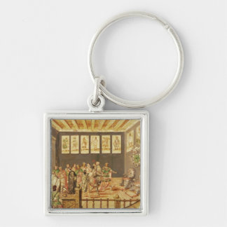 The Conquest of Mexico Silver-Colored Square Keychain