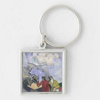 The Conquest of the Air, 1913 Silver-Colored Square Keychain