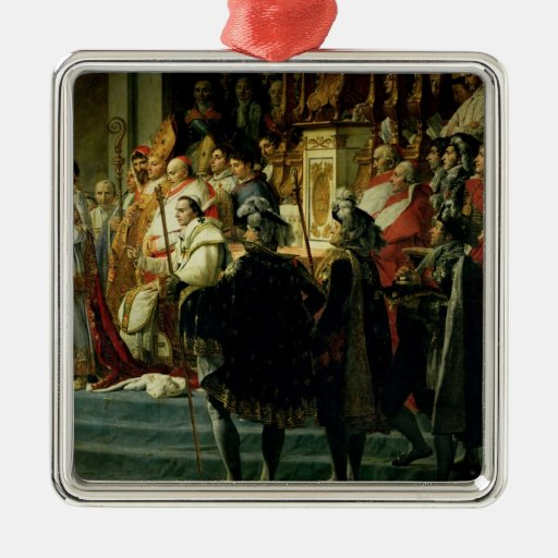 The Consecration of the Emperor Napoleon Square Metal Christmas Ornament