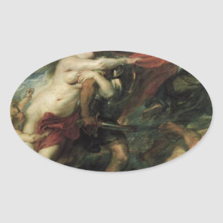 The Consequences of War by Peter Paul Rubens Oval Sticker