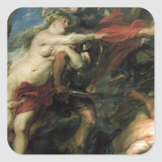 The Consequences of War by Peter Paul Rubens Square Sticker