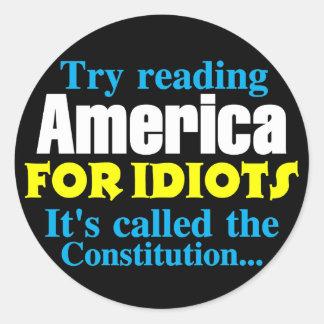 The Constitution: America for Idiots Classic Round Sticker