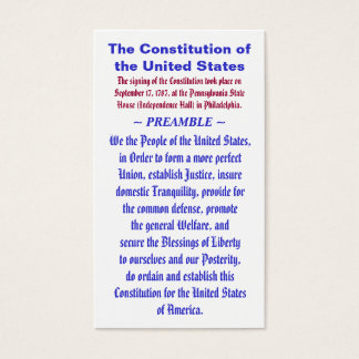 The Constitution of the United States ~ PREAMBLE Business Card