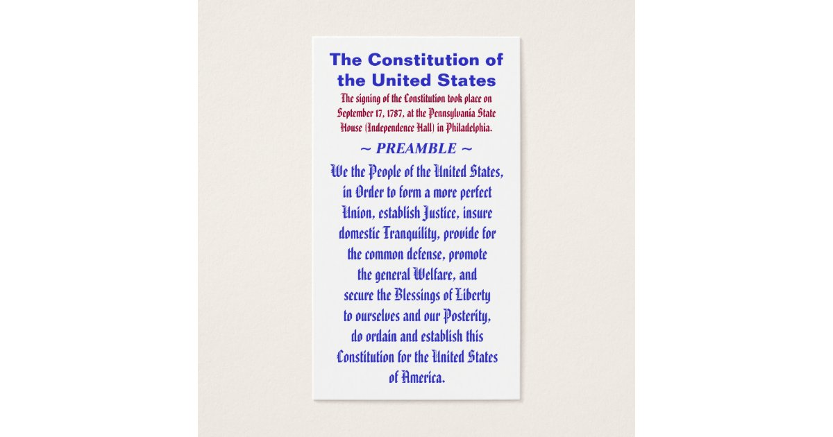 The Constitution of the United States ~ PREAMBLE Business Card ...