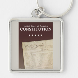 The Constitution Silver-Colored Square Keychain